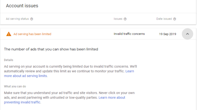 Temporary Ad Serving Limit Placed On Your Adsense Account